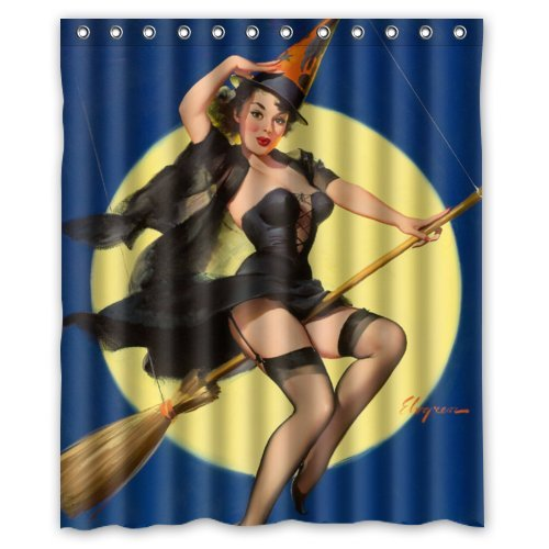 Bathroom Shower Curtain - Sexy Pin Up Girl I'm a Halloween Witch - Vintage Retro Pin Up Girls Body Art Work Canvas Painting Style Waterproof Polyester Fabric 60(w)x72(h) Rings Included]()