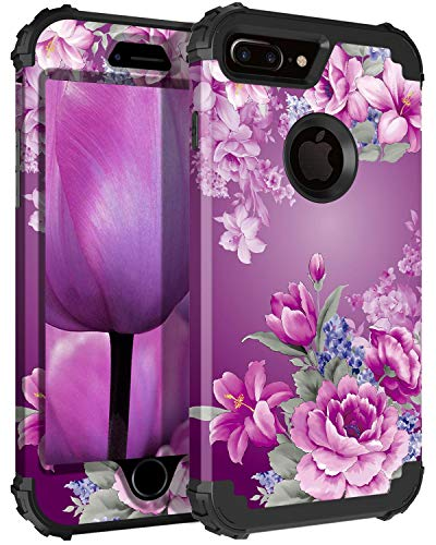 (Lontect Compatible iPhone 8 Plus Case Floral 3 in 1 Heavy Duty Hybrid Sturdy Armor High Impact Shockproof Protective Cover Case for Apple iPhone 8 Plus/iPhone 7 Plus - Black/Purple Flower )