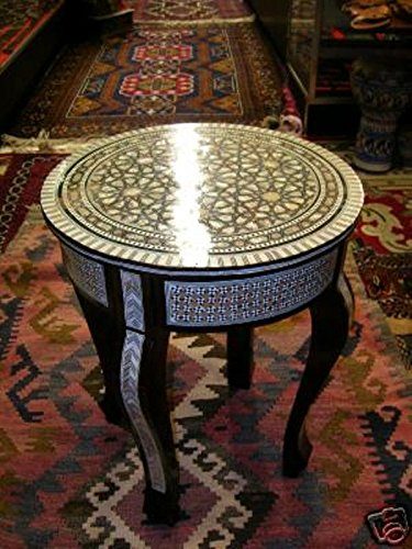 Handcrafted Egyptian Moroccan Mother of Pearl Inlay Wood Coffee Round -