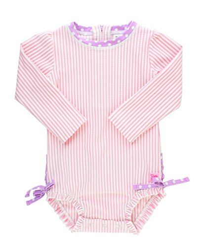 RuffleButts Baby/Toddler Girls Pink Seersucker One Piece Rash Guard - ()