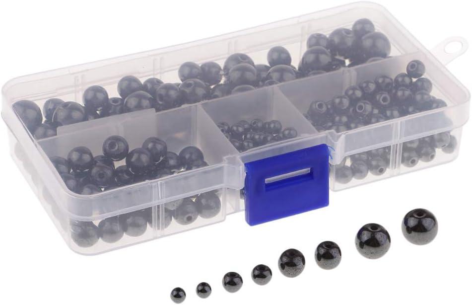 F Fityle Caja de 300pcs Perlas Naturales de Hematita Superficie Brillante Abalorios Accesorios para Proyectos de Joyerías