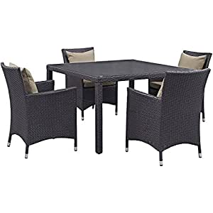 Set of 5 Classy Patio Dining Set Made of Woven Rattan and Aluminum Frame, 4 Chairs with Cozy Cushions and 1 Glass Top Square Table, Epsresso/Mocha + Expert Home Guide by Love US