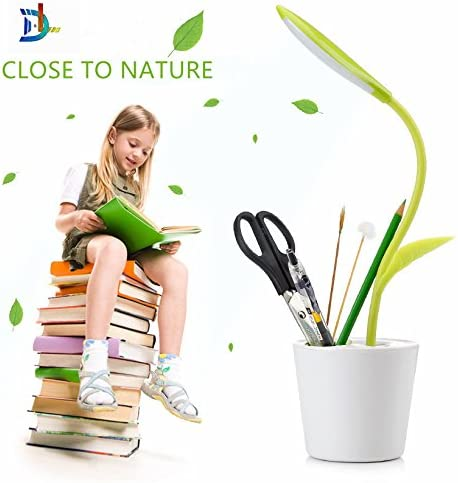 D L LED Desk Lamp with Holder,Flexible Neck USB Touch Table Light with 3-Level Dimmer and Decor Plant Pencil Holder.