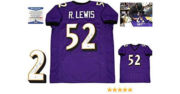 Ray Lewis Autographed Jersey - Beckett Authentic - Purple