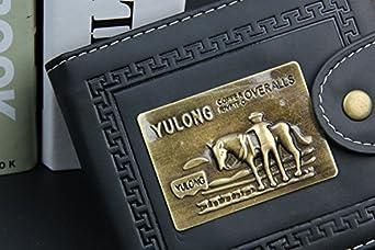 Metal Plate Series Weilong Vintage Wallet PU Leather Credit Card Billfold