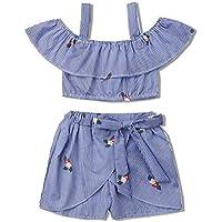 Gaono azul Conjunto de 2 peças de roupas infantis para bebês meninas com ombros de fora e calça saia curta set