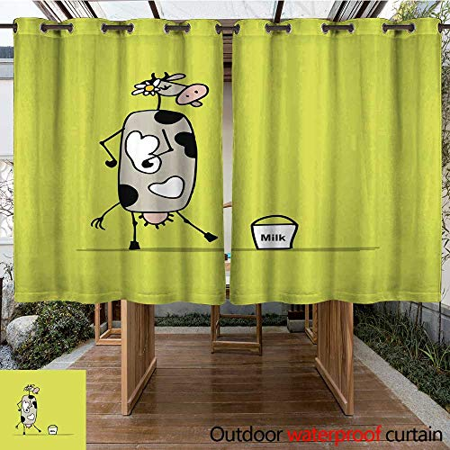 (RenteriaDecor Outdoor Ultraviolet Protective Curtains Funny Cow with Bucket of Milk Sketch W55 x L72)