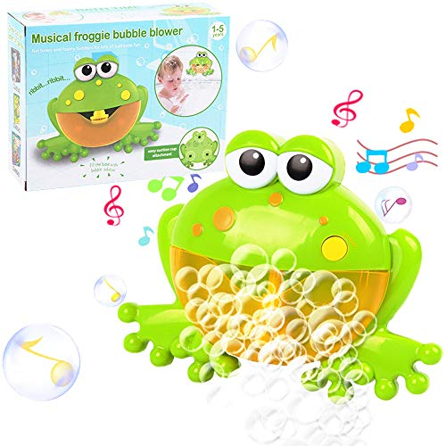 Musical Frog Baby Bath Bubble Toy Automatic Bubble Blower, Upgraded Bubble Machine Bubble Maker Fun Bathtub Bubble Toys for Baby Kids Boys Girls Cute Bath Toys