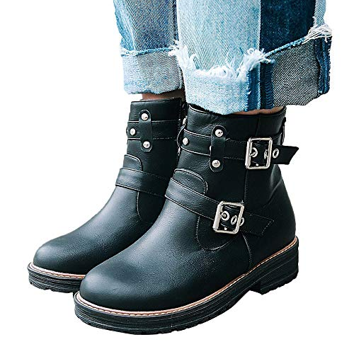 - AgrinTol Women's Leisure Buckle Flat Leather Shoes Solid Color Short Tube Martin Boots