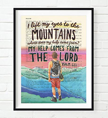 Vintage Bible Verse Scripture -I lift my eyes to the Mountains - Psalm 121 Christian ART PRINT, UNFRAMED, hiker dictionary page wall & home decor poster, Inspirational gift