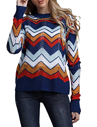 Relipop Women's Pullover Jumper Crewneck Rainbow Color Striped Knit Sweater