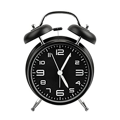 Alarm Clock,4 Inch Non Ticking Twin Bell desktop Alarm Clock Vintage Style Alarm Clock for Heavy Sleepers and Bedrooms With Stereoscopic Dial Backlight Battery Operated Travel Alarm Clock