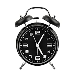 Alarm Clock,4 inch Vintage Style Non Ticking Twin Bell Stereoscopic Dial Backlight Travel Loud Alarm Clock for Heavy Sleepers and bedrooms Battery Operated