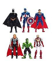 SKEIDO 6pcs Sets Superhero Avengers Iron Man Hulk Captain America Superman Batman Action Figures Gift Collection of Children's Toys