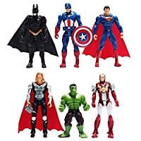 6pcs Sets Superhero Avengers Iron Man Hulk Captain America Superman Batman Action Figures Gift Collection of Children's…