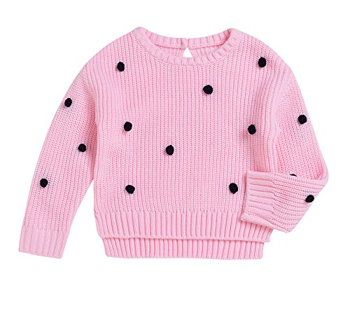 rls Pink Knit Thick Sweaters 3D Balls Dots Kids Pullover Sweatshirt (Pink, 70(0-6M)) (Baby Girl Pink Knit Sweater)