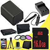 BP-819 Lithium Ion Replacement Battery w/External Rapid Charger + 16GB SDHC Class 10 Memory Card + 37mm 3 Piece Filter Kit + Memory Card Reader + Memory Card Wallet + Deluxe Starter Kit for Canon Vixia HFM30 HFM31 HFM300 HF10 HF100 HF11 HF20 HF200 HG20 HG