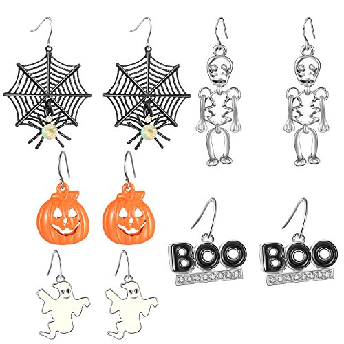 Zhenhui Halloween Theme 5 Pairs Drop Earrings Spider Web Pumpkin Skeleton Skull Boo Dangle Earring Set - Halloween Jewelry