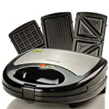 Ovente 3-in-1 Electric Sandwich Maker with Detachable Non-Stick Waffle and Grill Plates, 750-Watts