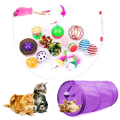 Cottia 16PCS Cat Toys Variety Pack - 2 Way Tunnel, Fluffy Mice, Cat Teaser, Tumbler, Spring Balls, Interactive Play & Exercise Kitten Toys Cat, Kitty (Color May Vary)
