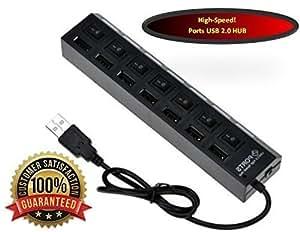 Adaptador de 7 puertos USB 2.0 de alta velocidad negro MMOBIEL, ultraligero, con botones