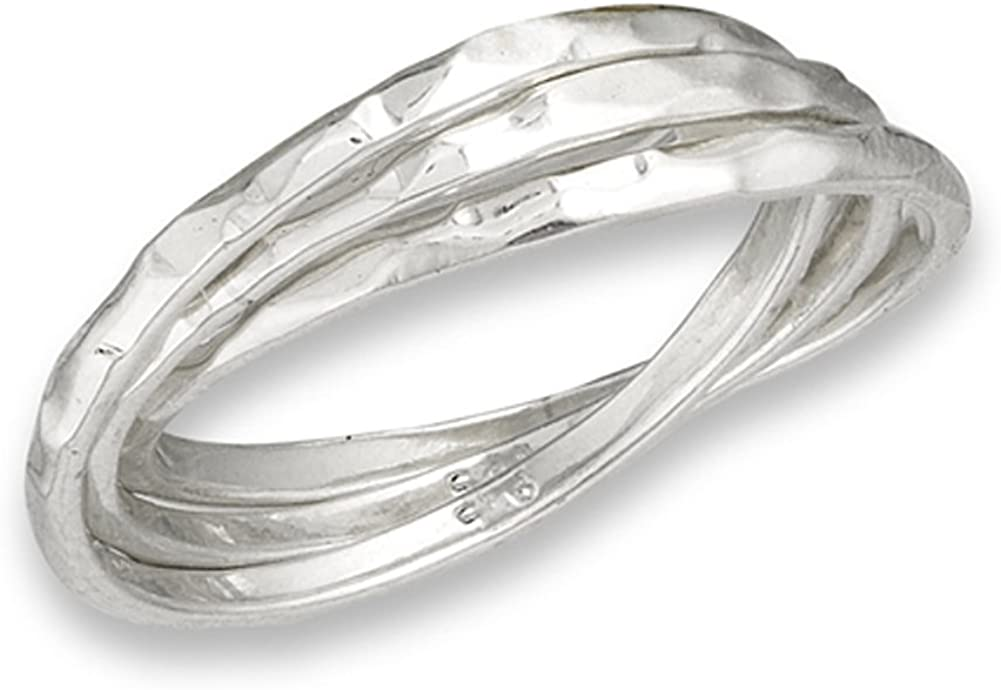 Hammered Triple Rolling Ring Set New 925 Sterling Silver Wedding Band Sizes 7-10
