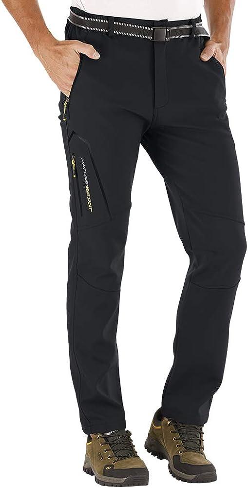 CARETOO Pantalons de Sport Homme Randonn/ée Durables avec Multi Poches Hiver Softshell en Molleton Respirant Chaud S/échage Rapide Pantalon avec Ceinture pour Trekking Camping