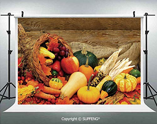 Photography Backdrops Thanksgiving Related Foods Scattered on Wooden Table Vegetables Fruits Decorative 3D Backdrops for Photography Backdrop Photo Background Studio Prop -