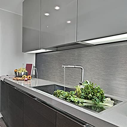 KERABAD Küchenrückwand Küchenspiegel Wandverkleidung Fliesenverkleidung  Fliesenspiegel aus Aluverbund Küche Silber-Gebürstet Edelstahl ähnlich ...