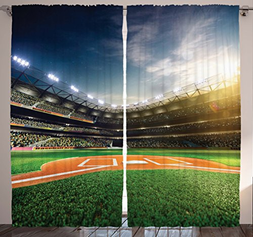 Baseball Sports Lovers Fans Decor Hobby Curtain Funny Sporting Household Decorations for Kids and Teens Room Accessories Pictures Bedroom Curtain 2 Panels Set, Blue Navy Green Yellow Orange White