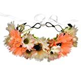Vivivalue Boho Handmade Chrysanthemum Flower Wreath Halo Headband Floral Hair Garland Crown Headpiece with Ribbon Festival Wedding Rose Red