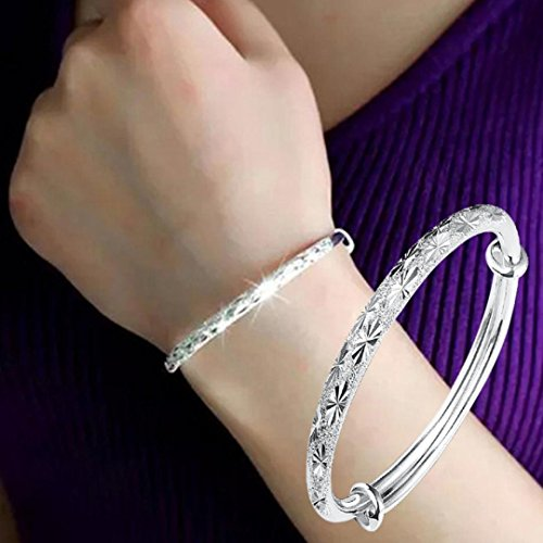 Hemlock 5 PCs Bangle Bracelet, Women 925 Sterling Silver Bracelet Bohemia Jewelry (1 pc Silver-2) 925 Sterling Silver Bangle