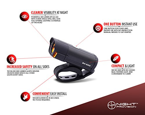 POWERFUL BX-300 CREE XP-G2 Bike Light Set USB Rechargeable Front Headlight w/Amber Side Alert + Bonus Free Rear LED Bike Light For Adults Men Women Kids Front & Back Road Cycling Bicycle Safety Lights by Night Provision (Image #8)