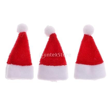 c139b5d6843d3 Dovewill 3pcs Miniature Santa Claus Hat Dollhouse Christmas Decor Accessory  1 12 Scale