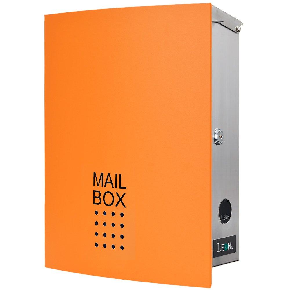 LEON (レオン) MB4504ネオ 郵便ポスト 壁掛けタイプ ステンレス製 鍵付き おしゃれ 大型 ポスト 郵便受け (マグネット付き) オレンジ B079GRMST9 24624 オレンジ オレンジ