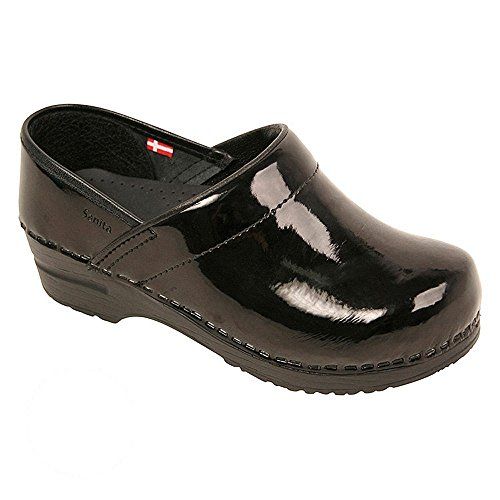 Sanita Women's Professional Patent Clog, Black, 38 Medium EU (7-7.5 (Womens Black Patent Clog)
