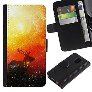 NEECELL GIFT forCITY // Billetera de cuero Caso Cubierta de protección Carcasa / Leather Wallet Case for Samsung Galaxy S5 V SM-G900 // Espacio ciervos