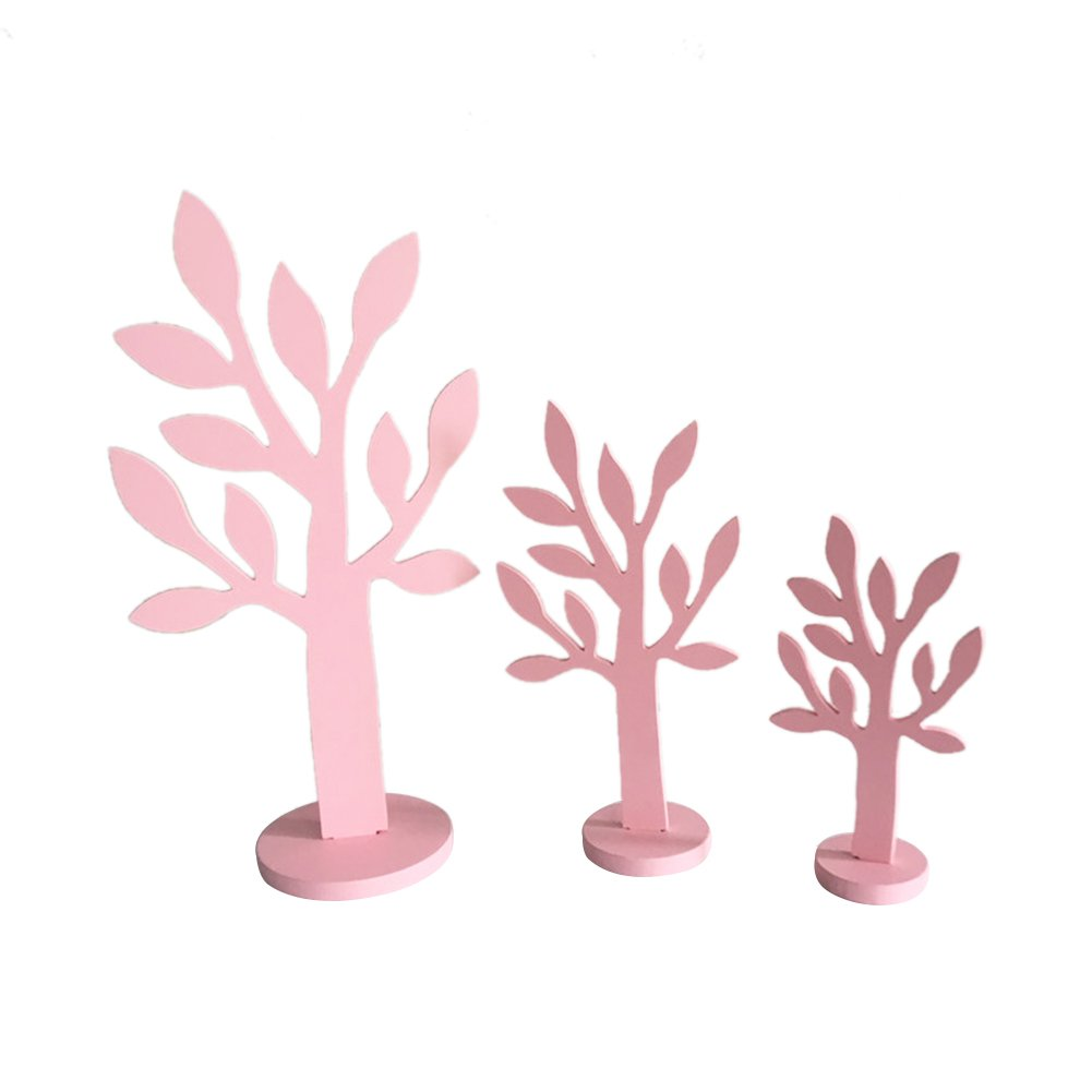 3pcs/set Simulation Wood Tree Small/Mid/Tall Font Pink Wood Home Decor Gift Crafts by floor88 (Image #1)