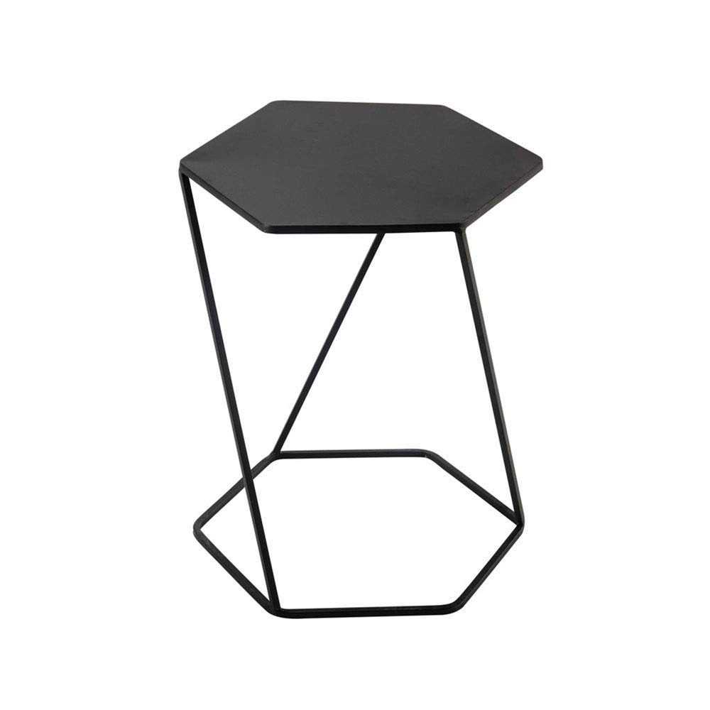 LJHA bianzhuo End Table, Hexagon Iron Art Nightstands Small Coffee Table for Family Bar Living Room Lobby Bedroom 40x45x55cm Black Bedside Tables by GYH End Table