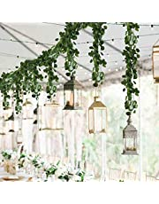 HO2NLE 12 Pack 84 Feet Artificial Fake Hanging Vines Plant Faux Silk Green Leaf Garlands Home Office Garden Outdoor Wall Greenery Cover Jungle Party Decoration