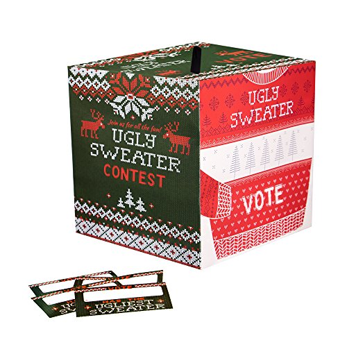 Ugly Sweater Christmas Party Contest Ballot Box with 10 Ballots