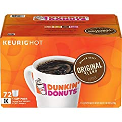 Includes Dunkin Donuts Original Blend Pods K-Cup Pods 72 Count - Packaging May Vary. A true classic — our Original Blend is rich, smooth, delicious and ready to brew in convenient K-Cup pods for your Keurig Brewer.PLEASE NOTE THE PACKAGING CH...
