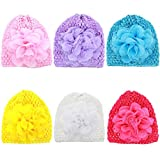 Veenajo 7PCS Cute Flower Bowknot Baby and Newborn Hats Girls Knit Knitted Beanie Hats