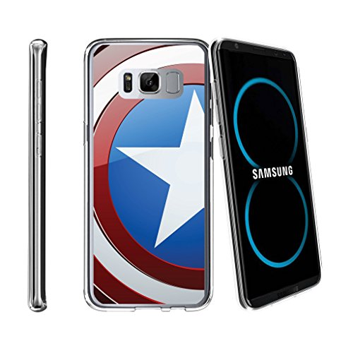 Speciality Patterns - MINITURTLE Case Compatible w/ Samsung Galaxy S8 Clear Case   S8 Flexible Case[FLEX FORCE] + Clear Cover Flexible SLim Fit TPU Case Cover Speciality Graphic Pattern America Shield Hero