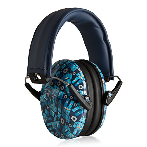 Muted Designer Hearing Protection For Infants & Kids - Adjustable Childrens Ear Muffs from Toddler to Teen - Robot Blue