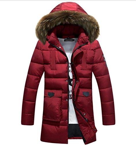 CHENSH Men Down Cotton Padded Long Section Slim Cotton Suit Fur Collar Winter Red