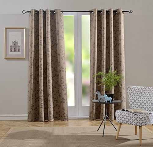Mysky Home Twigs Fashion Design Print Thermal Insulated Blackout Curtain with Grommet Tops for Nursery Room, 52 by 84 inch, Taupe – 1 Panel