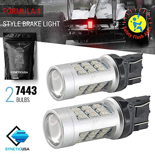 7443 Red LED Stop Brake Flash Strobe Rear Alert Safety Warning 33-LED Light Bulbs