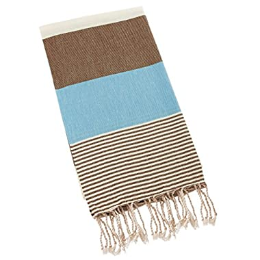 Swan Comfort 100% Natural Turkish Cotton Absorbent Beach Towel, Easy Care ideal for Bath Spa Fitness Yoga Pool Yatch Swimwear Guest Gym - Blue - Brown