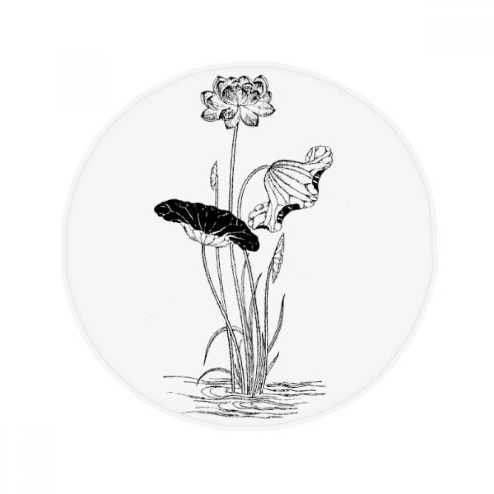 60X60cm DIYthinker Lotus Flower Water Black White Plant Anti-Slip Floor Pet Mat Round Bathroom Living Room Kitchen Door 60 50Cm Gift